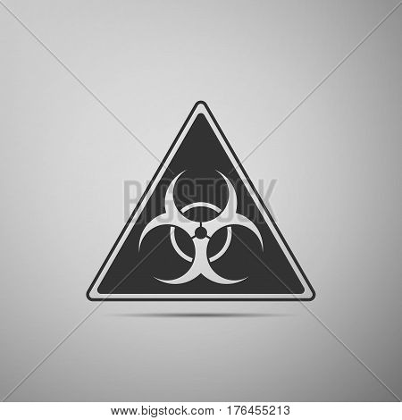 Triangle sign with a Biohazard sign flat icon on grey background. Vector Illustration
