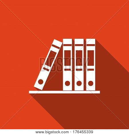 Office folders with papers and documents. Archives folder flat icon with long shadow. Vector Illustration