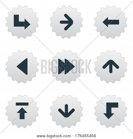 Vector Illustration Set Of Simple Pointer Icons. Elements Advanced, Right Direction , Left Landmark Synonyms Arrow, Transfer And Advanced.