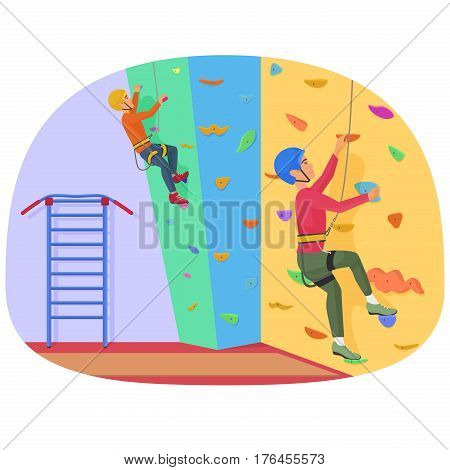Two people climbing on a rock-climbing wall vector illustration