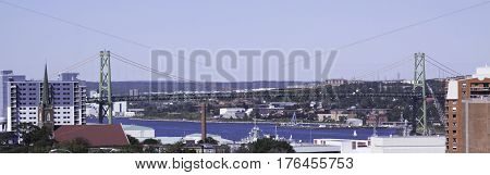 Halifax, Nova Scotia, September 23, 2015 -- Wide view from the top citadel Hill of downtown Halifax, Nova Scotia and the Angus L McDonald Bridge which crosses over to Dartmouth on a bright sunny day in September