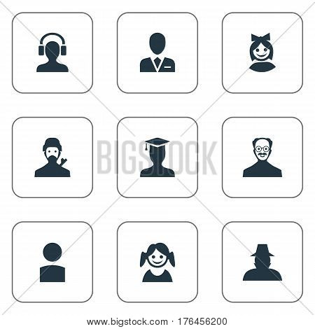Vector Illustration Set Of Simple Avatar Icons. Elements Workman, Little Girl, Whiskers Man And Other Synonyms Face, Student And Little.