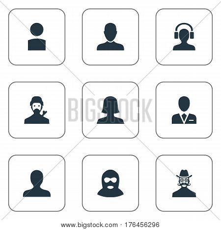 Vector Illustration Set Of Simple Avatar Icons. Elements Mysterious Man, Job Man, Woman User And Other Synonyms Insider, Whiskers And User.