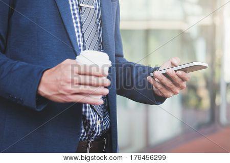 Buinessman And Mobile Ofiice Idea Concept.