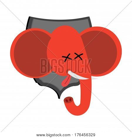 Red elephant hunter trophy Republicans in office of Democrat. Political illustration USA