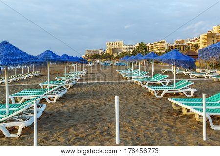 beach in the resort of Torremolinos Spain