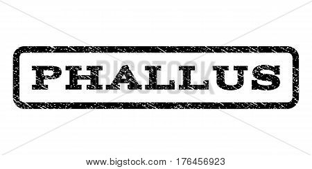 Phallus watermark stamp. Text caption inside rounded rectangle frame with grunge design style. Rubber seal stamp with scratched texture. Vector black ink imprint on a white background.