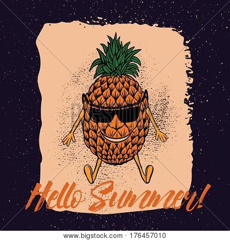 Hello Summer.Pineapple with suglass in the beach vector illustration.