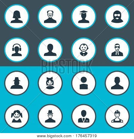 Vector Illustration Set Of Simple Avatar Icons. Elements Agent, Portrait, Postgraduate And Other Synonyms Culprit, Young And Engineer.