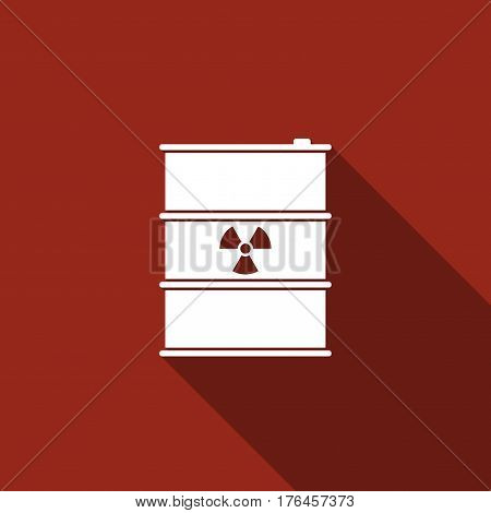 Radioactive waste in barrel flat icon with long shadow. Toxic refuse keg. Radioactive garbage emissions, environmental pollution, danger of ecological disaster. Vector Illustration