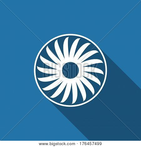 Ventilation sign icon. Ventilator symbol flat icon with long shadow. Vector Illustration