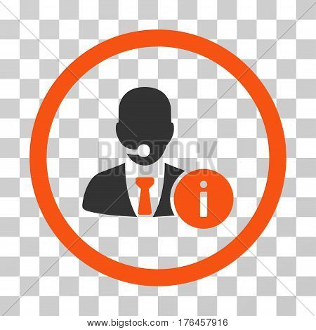 Help Desk Manager icon. Vector illustration style is flat iconic bicolor symbol orange and gray colors transparent background. Designed for web and software interfaces.