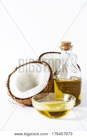 Coconut fruit oil isolated on white background