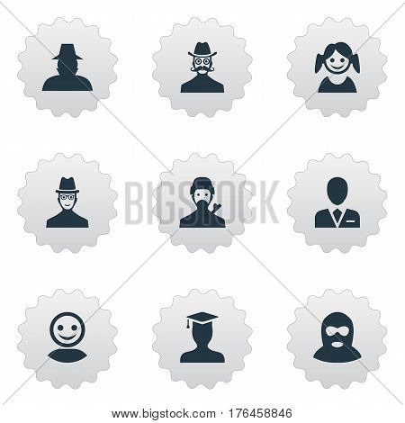 Vector Illustration Set Of Simple Avatar Icons. Elements Postgraduate, Mysterious Man, Workman And Other Synonyms User, Hat And Man.