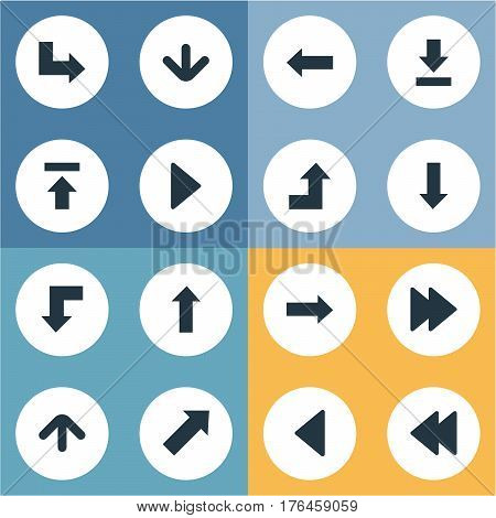 Vector Illustration Set Of Simple Pointer Icons. Elements Pointer, Left Landmark , Upward Direction Synonyms Ahead, Increasing And Upward.