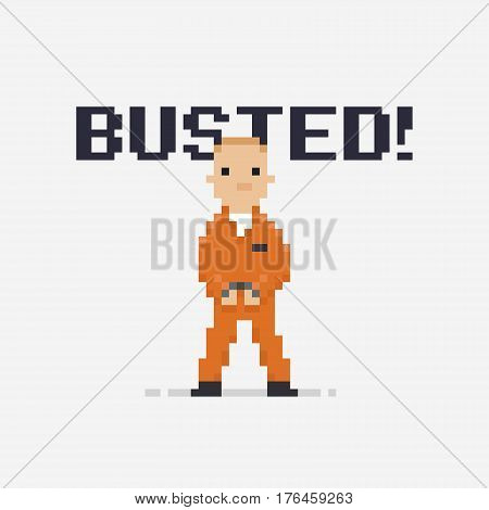 Pixel art prisoner isolated on light background with handcuffs