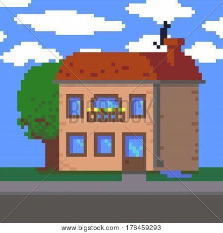 Pixel art 8-bit two-storey house, tree and sky with clouds