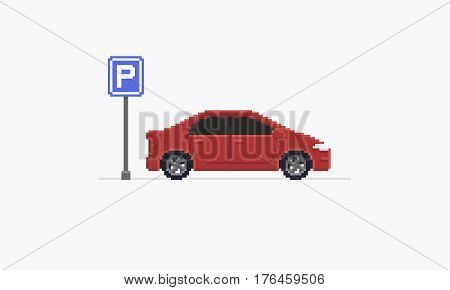Pixel art car, red sedan staying after the parking road sign, isolated on white background