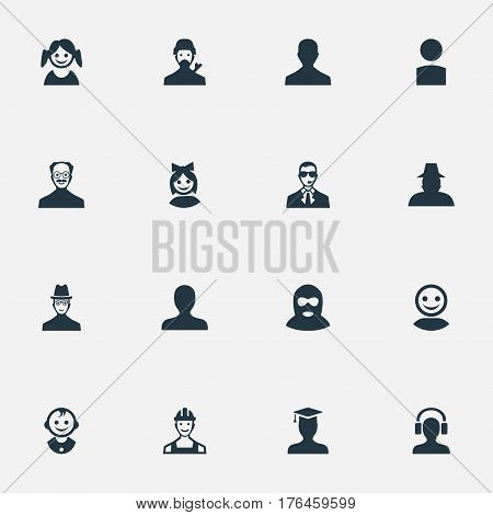 Vector Illustration Set Of Simple Human Icons. Elements Agent, Whiskers Man, Felon And Other Synonyms Boy, Insider And Graduate.