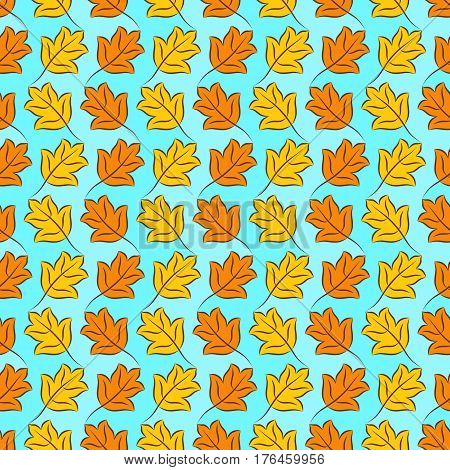 Colorful pattern of orange and yellow stylized fall leaves on light sky blue checkered background. Vector seamless repeat.