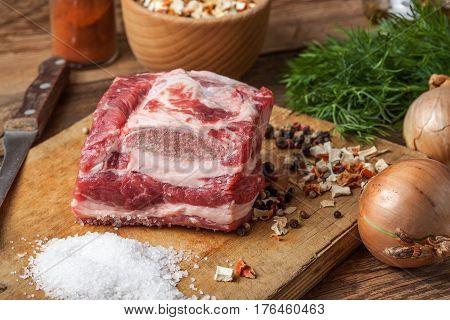 Raw Brisket With Bone.