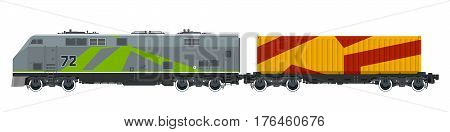 Locomotive with Orange Cargo Container on Railroad Platform Isolated on White Background , Train, Railway and Container Transport, Vector Illustration
