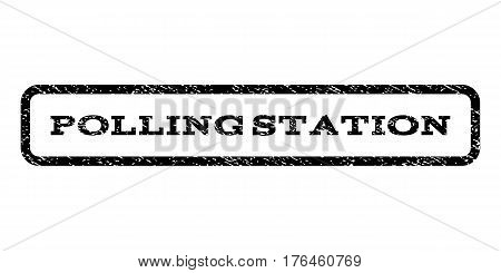 Polling Station watermark stamp. Text tag inside rounded rectangle frame with grunge design style. Rubber seal stamp with scratched texture. Vector black ink imprint on a white background.