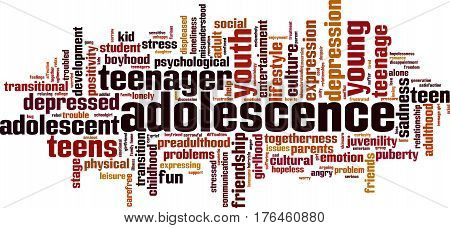 Adolescence word cloud concept. Vector illustration on white