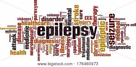 Epilepsy word cloud concept. Vector illustration on white