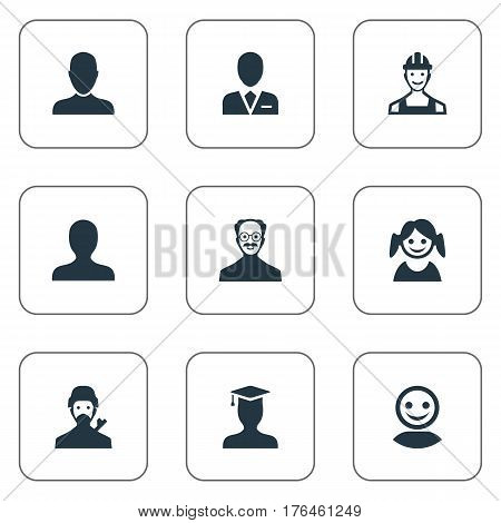 Vector Illustration Set Of Simple Member Icons. Elements Workman, Job Man, Proletarian And Other Synonyms User, Man And Internet.