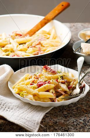 Penne with Leeks and Speck. selective focus