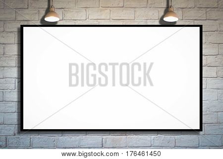 Huge poster advertising billboard on brick wall with lamp Advertising poster sign Template mock up for adding your design and adding more text.