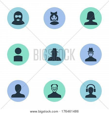 Vector Illustration Set Of Simple Member Icons. Elements Felon, Spy, Insider And Other Synonyms Agent, Profile And Hat.
