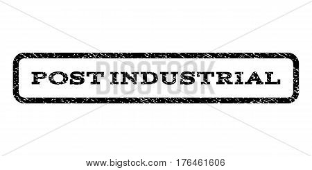Post Industrial watermark stamp. Text caption inside rounded rectangle with grunge design style. Rubber seal stamp with scratched texture. Vector black ink imprint on a white background.