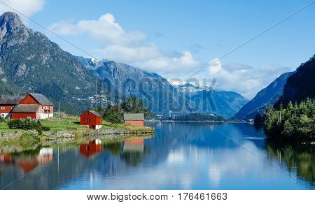 Landscape of Norway. Tipical red fishing houses,