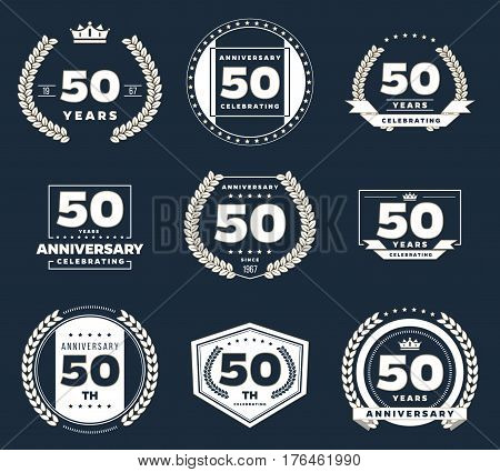 Fifty years anniversary logotypes and badges. 50th anniversary logo collection.
