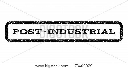 Post-Industrial watermark stamp. Text caption inside rounded rectangle frame with grunge design style. Rubber seal stamp with dust texture. Vector black ink imprint on a white background.