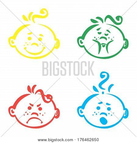 Set of cute baby emoticons. Very simple but expressive cartoon baby boy faces. Modern flat vector style.