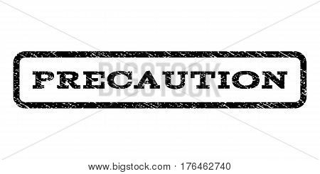 Precaution watermark stamp. Text tag inside rounded rectangle frame with grunge design style. Rubber seal stamp with dust texture. Vector black ink imprint on a white background.