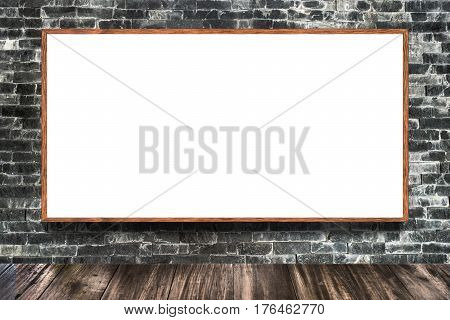 Huge poster advertising billboard on brick wall as background Advertising poster sign Template mockup for adding your design and text.