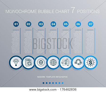 Infographics template for 7 steps. Monochrome Blue bubbles chart elements for visualization business processes.