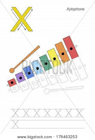Vector exercise illustrated alphabet, kid gaming and education. Learn handwriting. Half trace game. Easy educational kid game. Tracing worksheet for letter X. Xylophone.