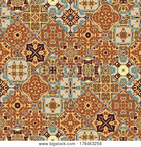 Brown and blue abstract patterns in the mosaic set. Square scraps in oriental style. Vector illustration. Ideal for printing on fabric or paper.