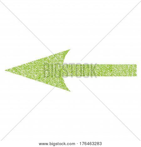 Sharp Arrow Left vector textured icon for overlay watermark stamps. Fabric light green vectorized texture. Symbol with dust design. Rubber seal stamp with fiber textile structure.