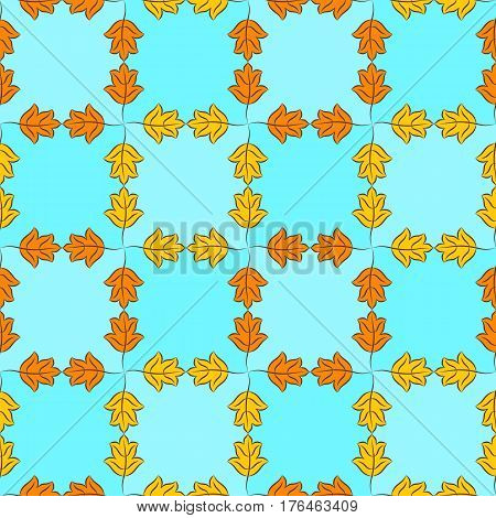 Colorful pattern of orange and yellow stylized autumn leaves on light sky blue checkered background. Vector seamless repeat.