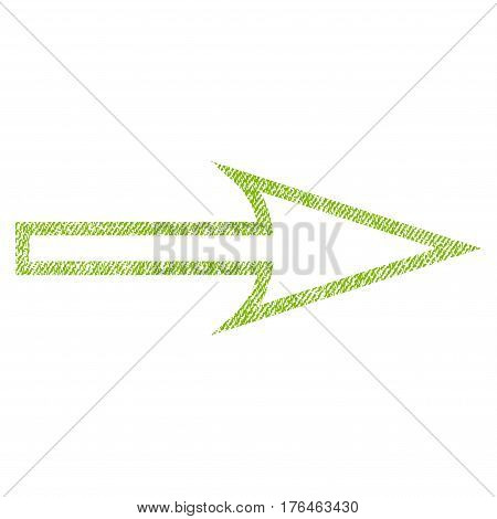 Sharp Arrow Right vector textured icon for overlay watermark stamps. Fabric light green vectorized texture. Symbol with dust design. Rubber seal stamp with fiber textile structure.