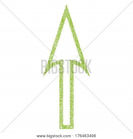 Sharp Arrow Up vector textured icon for overlay watermark stamps. Fabric light green vectorized texture. Symbol with dust design. Rubber seal stamp with fiber textile structure.
