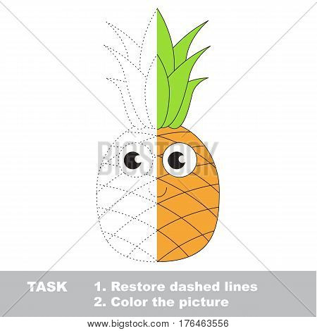 Funny Pineapple to be finished, page to be completed to educate preschool kids with easy kid educational gaming and primary education of simple game level of difficulty.