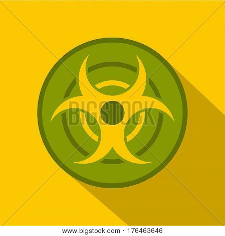 Biohazard symbol icon. Flat illustration of biohazard symbol vector icon for web isolated on yellow background