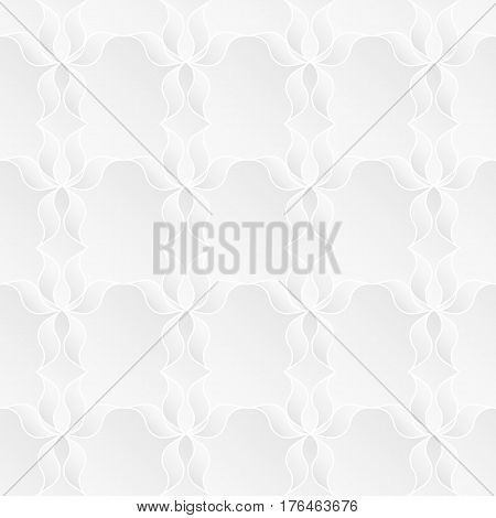 Neutral white texture. Abstract geometric background with 3d bas relief effect. Vector seamless repeating pattern of stylized floral elements.